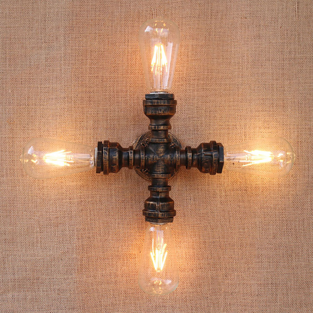 4 lights Vintage Loft Industrial art iron rust Water pipe wall lamp e27 sconce led lights for living room bedroom restaurant bar american country industrial style wall lights loft 3 heads water pipe wall sconce vintage bronze wall lamp iron art lustre