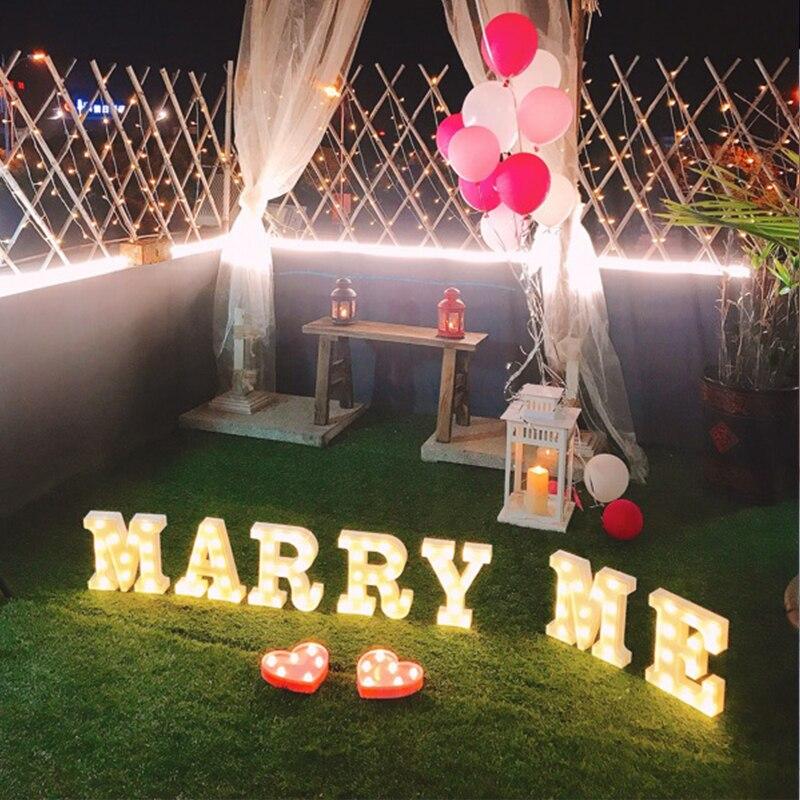 1 шт. 26 букв Белый светодиодный ночник знаковое событие Алфавит лампа для рождения Свадебная вечеринка Спальня Настенный декор сердце