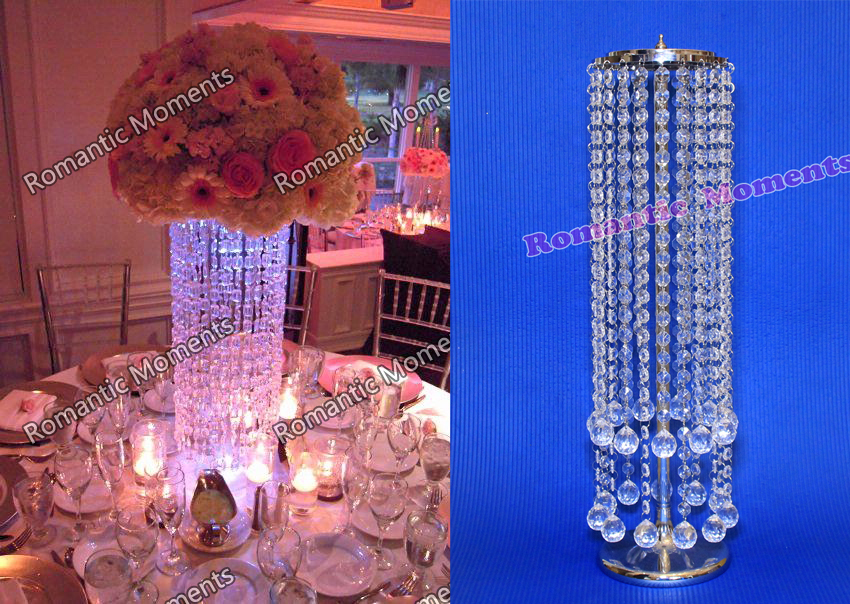 20pcs Acrylic Crystal Wedding Centerpiece Table Pillar 22 Tall Chandelier Banquet Decor In Vases From Home Garden On