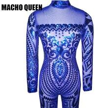 Синий комбинезон женские комбинезон волнующие золотистые Геометрическая татуировки блесток комбинезон Женщины с длинным рукавом блестками женские боди комбинезон