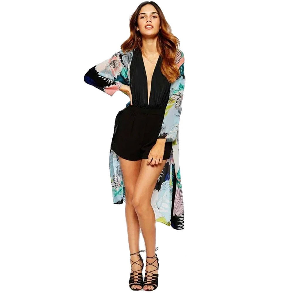 Blusas Camicie di Chiffon Boho Beach Cover up Kimono Delle Donne Camicette  Estate 3 4 Manica Scialle Allentato Kimono Cardigan Womens Jacket   JO 4b9147941e77