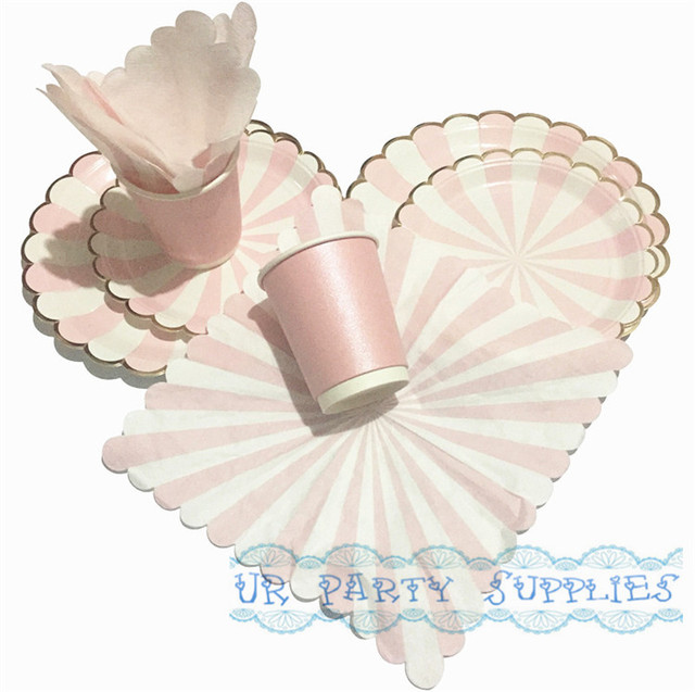 460pcs Pink Stripe with Foil Gold Paper Party Pack 9inch \u0026 7inch Paper Plates Napkins Cups  sc 1 th 224 & Aliexpress.com : Buy 460pcs Pink Stripe with Foil Gold Paper Party ...