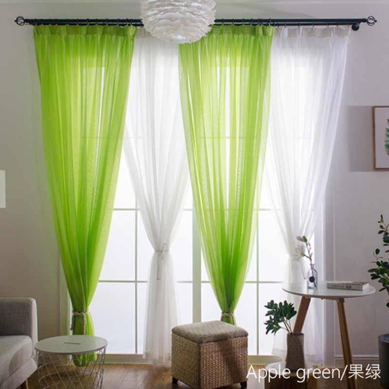 Hot Sale Sheer Rainbow Solid Voile Door Window Curtains Drape Purple Tulle For Home Decor Living Room Bedroom Kitchen WP184-40