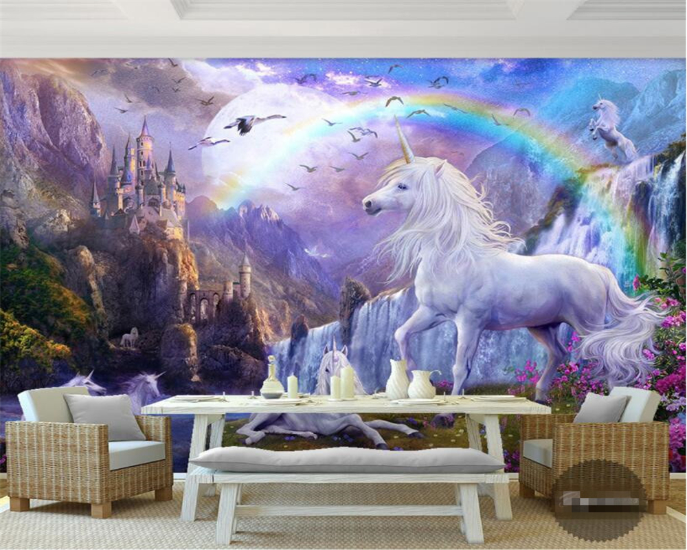 beibehang Children room 3D wallpaper blue sky white clouds rainbow waterfall white horse animal Landscape 3d wallpaper mural children room blue sky ceiling wallpaper white clouds wallpaper for kids bedroom blue sky and white clouds wallpaper paper roll