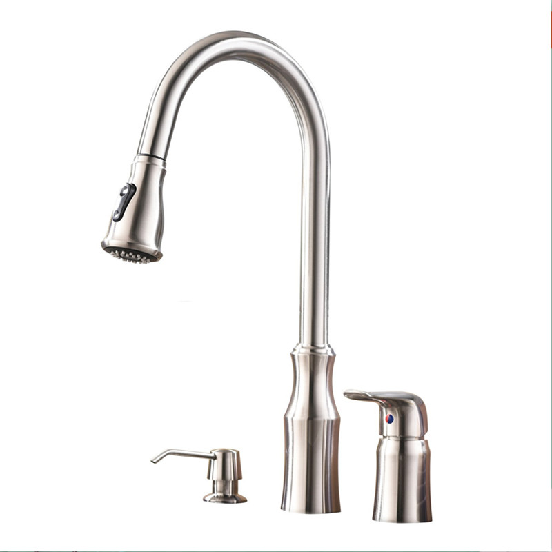 цена Modern Pull Out Prep Sprayer Stainless Steel Single Handle Pull Down Kitchen Faucet,Brushed Nickel Kitchen Sink Faucet with Soap в интернет-магазинах