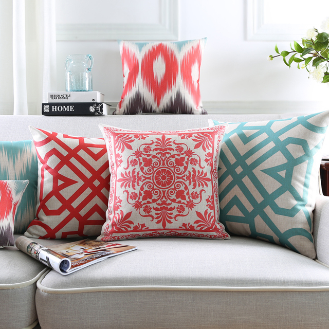 Wholesales Pillow Cover Vintage Ikat Abstract Coral Red Geometric ...