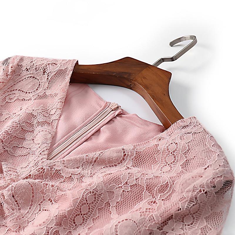 Manches See Arrivée Sexy Dentelle Élégant Été Ligne V Longues Chart Ruché Robe Femmes Une Nouvelle Col rose À 2019 Printemps Bleu Robes Rose fqz6w5