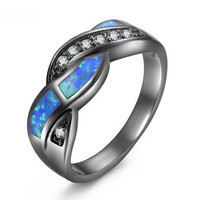 Vintage Black Gun Color Wave Blue Opal Rings For Women Wholesale Fashion Jewelry Party Cocktail Ring