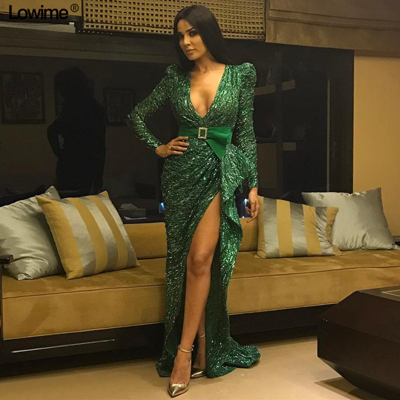 High Fashion Green Bling Celebrity Dresses 2019 Mermaid Deep V-Neck Sexy Formal Long Sleeves Evening Gowns With Sash Custom