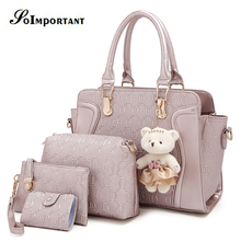 Hot Women Bag New Fashion PU Leather Women Composite Bags For 5 Sets Handbag+Crossbody Bag+Clutch Bag+Card Holder+Doll