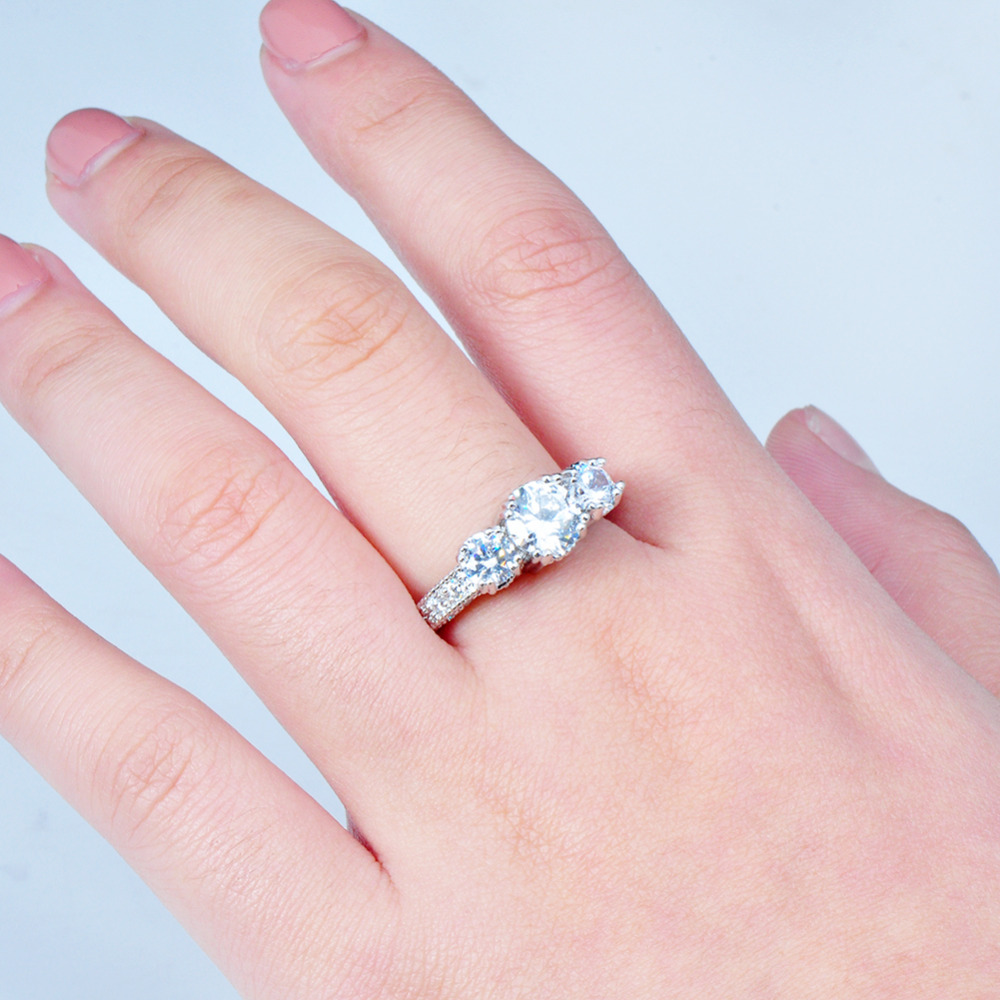 JUNXIN Male Female White Round Ring With Crystal Zircon Gold Filled ...