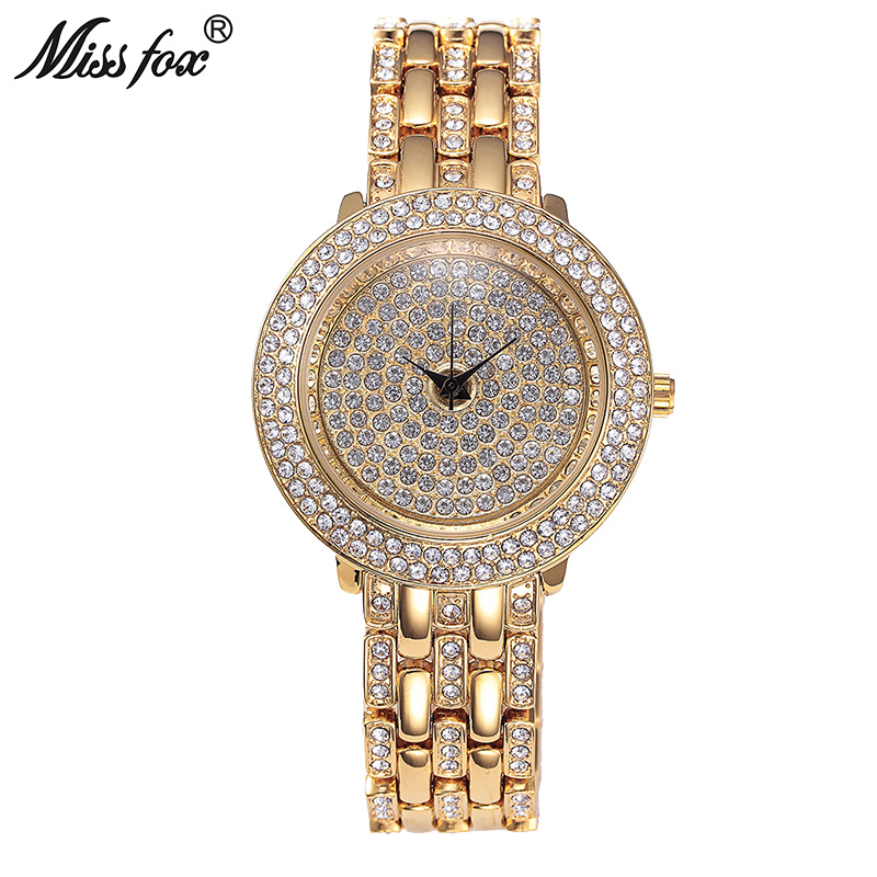 Miss Fox Gold Watches Women Rhinestone Quartz Montre Homme Marque De Luxe Female Stainless Steel Gift For Girls Bayan Kol Saati fashion erkek saat quartz watch men julius sport relogio masculino montre homme marque de luxe bayan kol saati calendar week