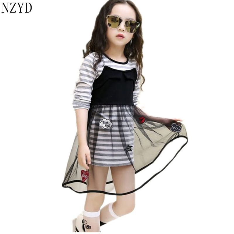 New Fashion Spring Autumn Girls Dress Children Long Sleeve Lace Stripe Princess Dress Korean Sweet Leisure Kids Clothes DC087 children s girls autumn long sleeved korean lace princess dress kids clothing mesh lace white