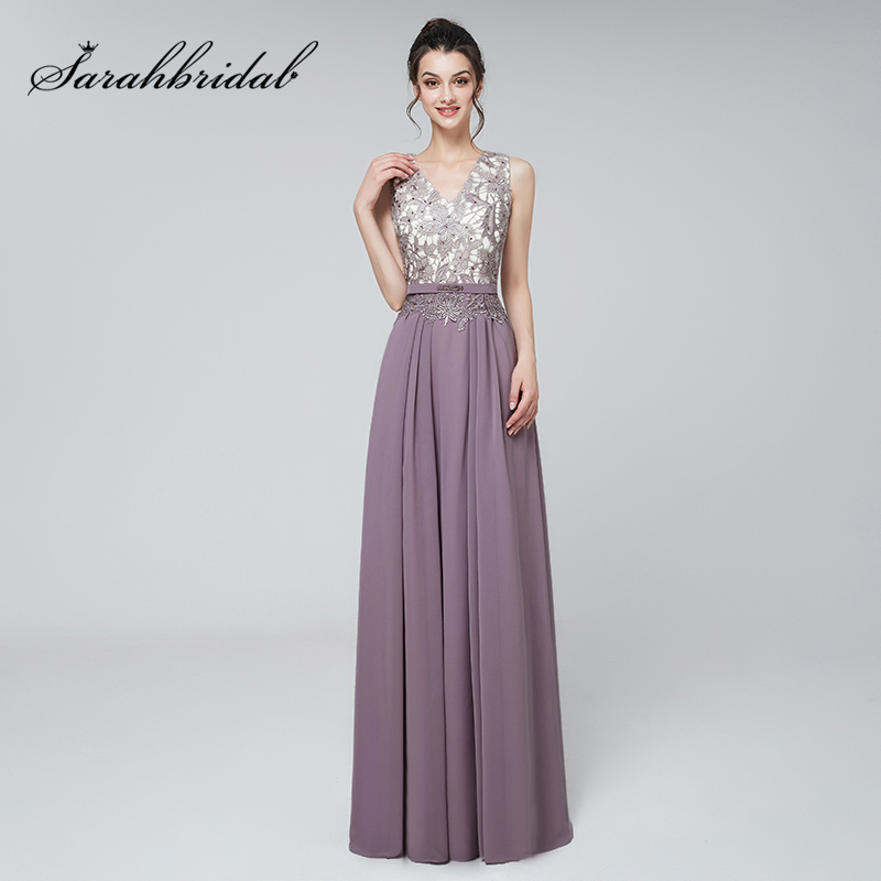 New Arrival Chic Lace Appliques   Prom     Dresses   2019 Vintage Chiffon V-Neck Women Bridal Evening Party Gowns Long Gala   Dress   L3123
