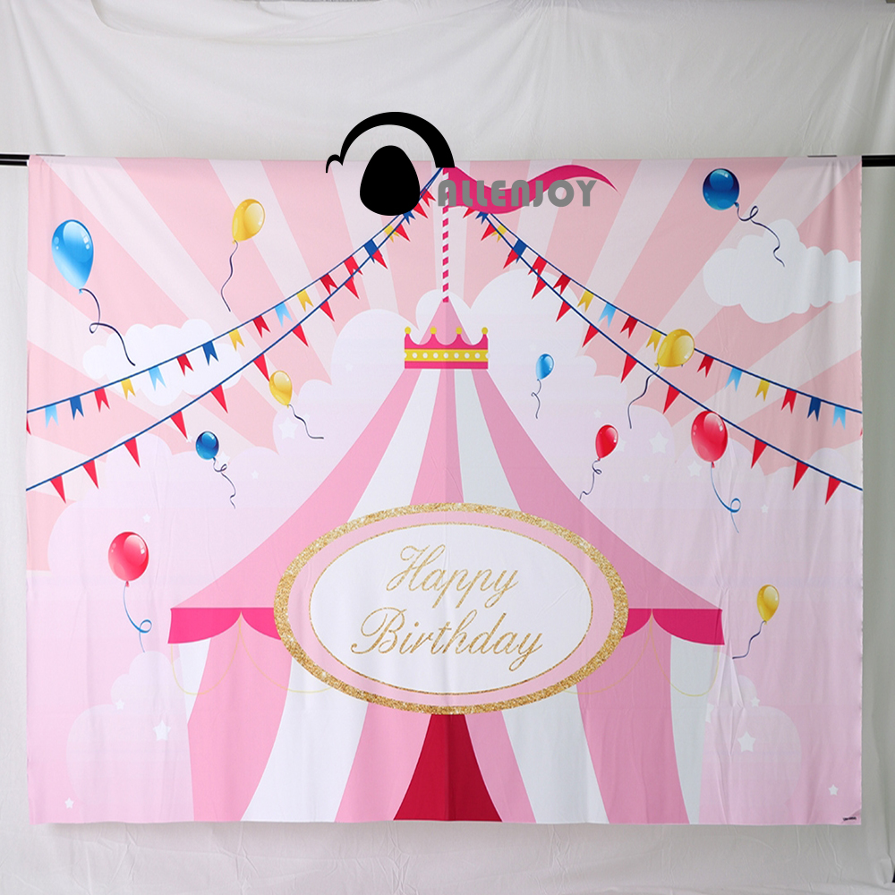 Allenjoy photography backdrops Circus backdrop Pink Balloon Child Birthday Party Background a photo backdrop allenjoy backdrops baby shower background pink stripe rose gold circle birthday invitation celebration party customize