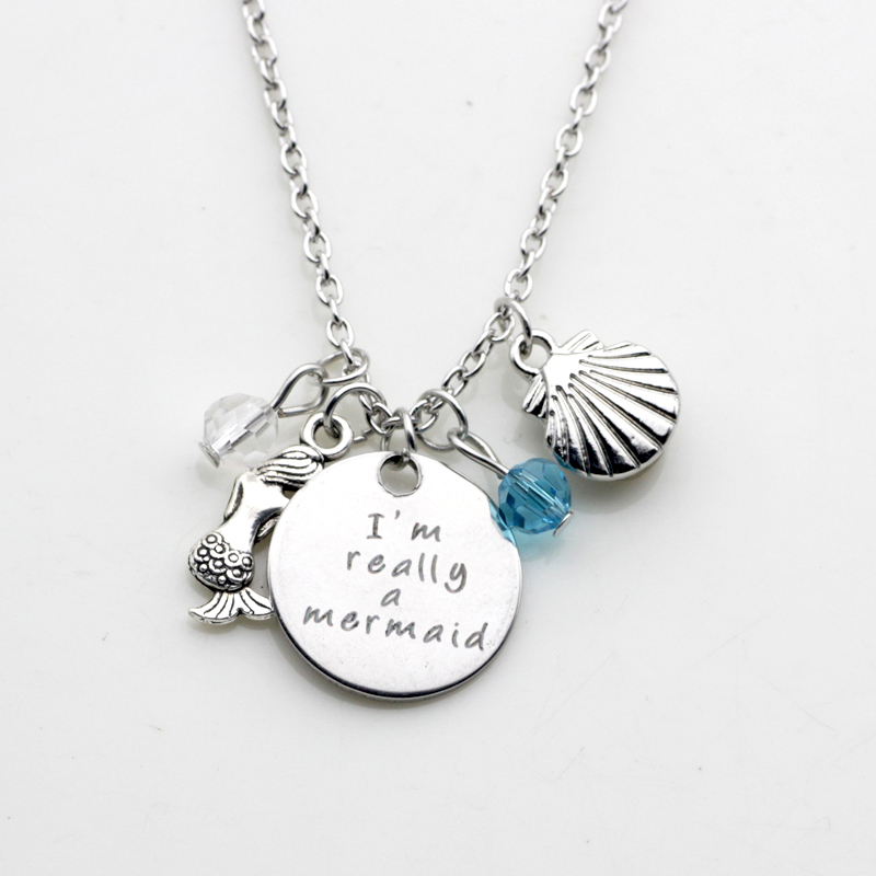 Personality Fashion jewelry I am really a mermaid shell mermaid pendant birth stone necklace N271