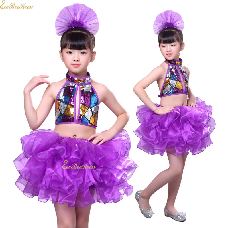 Girls Modern Dance Costume Purple Backless Sequin Suit Professional Performance Clothes Children Jazz Dance Dress For Kids
