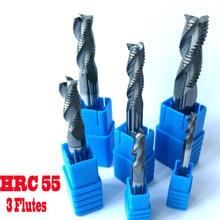 Фрезерные фрезы, 4 мм 6 мм 8 мм 10 мм 12 мм HRC55 3 флейты фрезерные Фрезы с ЧПУ грубые инструменты карбидные фрезы фрезерные фрезы