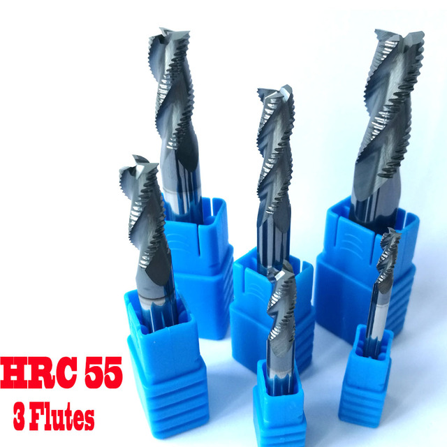 4mm 6mm 8mm 10mm 12mm HRC55 3 flutes Roughing End Mills Milling cutters CNC rough Tools Carbide router bits milling bits