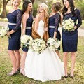 Navy Blue Lace Beautiful Short Bridesmaid Dresses Knee Length One Shoulder Long Sleeve Wedding Party Dress 2017 Vestidos de dama