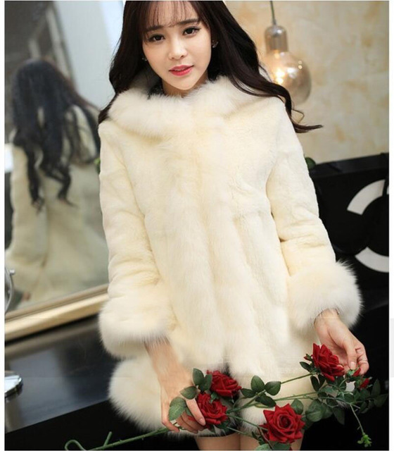 b178cf244 Hot sell 2015 new women winter fur coat Black White rabbit fur warm cozy  slim fashion