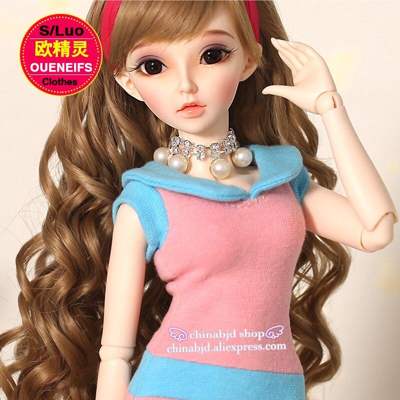 OUENEIFS free shipping High elastic knitting, pink, slim, doll skirt, feminine elegant dress 1/4 bjd sd doll clothes YF4-115