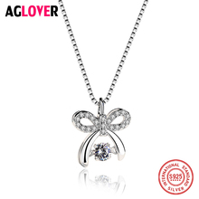 Hot Sale Move Austria Crystal 100% 925 Sterling Silver Bow knot Pendant Necklace Women Authentic Jewelry Gift