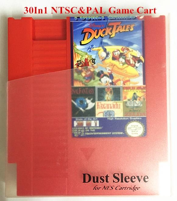 30in1 Žaidimo krepšelis NTSC & PAL, NES 72 Pins Red Game Cartridge pakeitimas korpusas, Final Fantasy1 & 2 & 3, Earthbound, foTheZelda I & II, Zen