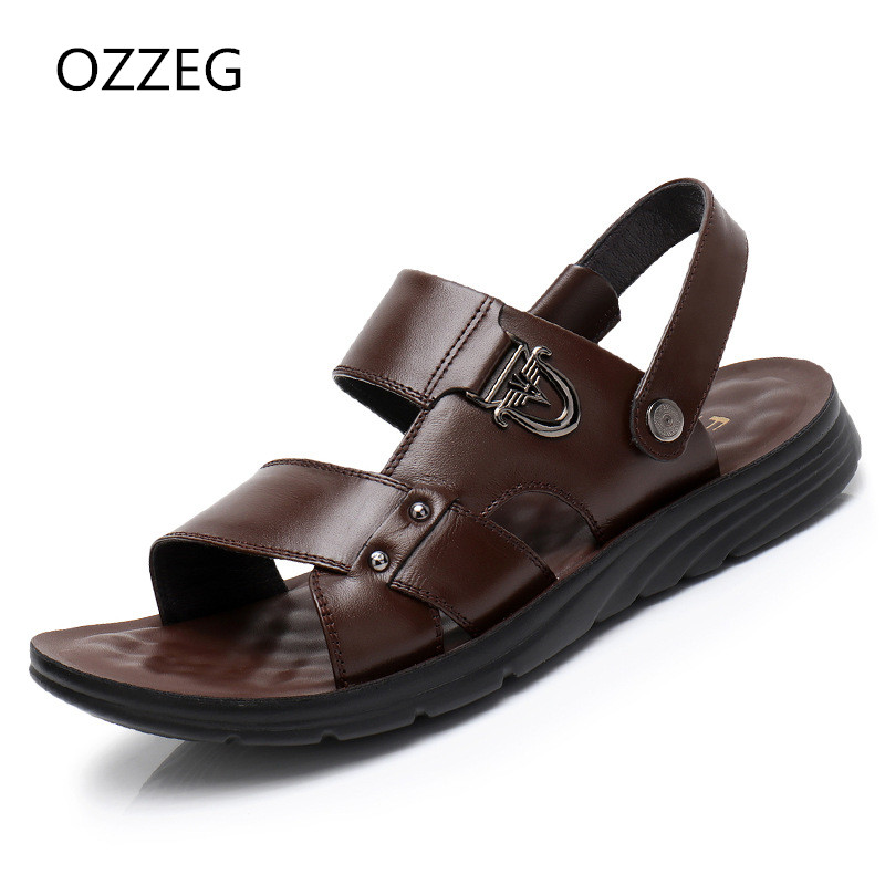 Fahsion Summer New Soft Male Sandals Leather Slip on Shoes For Men Breathable Beach Sandals Casual Quality Walking Sandal