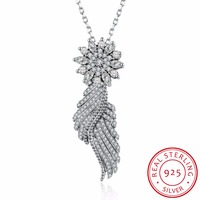 Wholesale Sale Genuine 925 Sterling Silver Necklace Fashion Jewelry Fit Pandora Diy Crystal 925 Jewelry Flowers