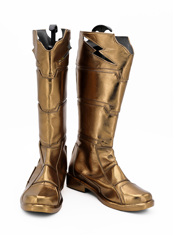 Captain Marvel Shazam Costume Cosplay Boots Billy Batson Superhero Men Shoes