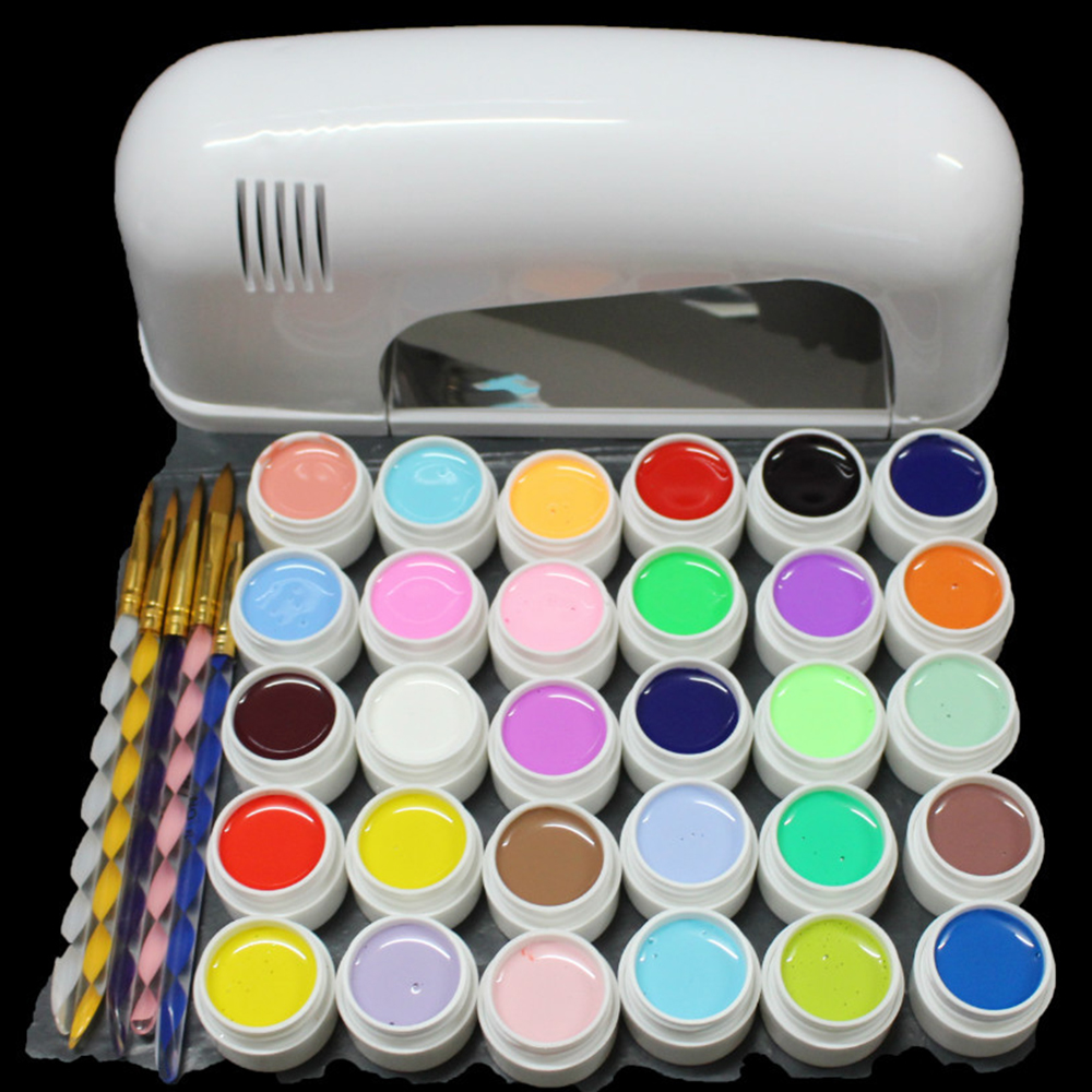 Nic-118 free shipping Pro 9W White UV Lamp Cure Dryer & 30 Color Pure UV GEL Brush Nail Art Set New att 138 pro nail polish eu us plug 9w uv lamp gel cure glue dryer 54 powder brush set kit at free shipping