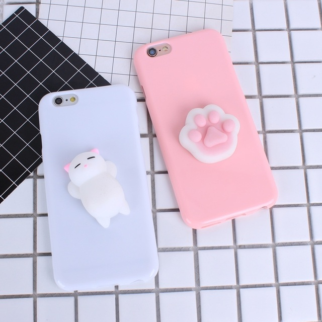 buy popular 74dee 3d5fc US $1.07 19% OFF|Cute Candy Color Squishy Cat Phone Case For iPhone 7  Lovely 3D Soft TPU Back Cover Cases Capa Coque For iPhone7 6 6s Plus 5  5S-in ...