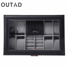 OUTAD 2 In One 8 Grids+3 Mixed Grids PU Leather Watch Case Storage Organizer Box Luxury Jewelry Ring Display Watch Boxes Black