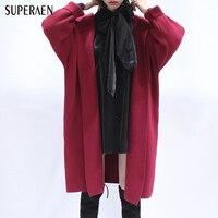 SuperAen Suelta ala de Murciélago Mujeres Knit Cardigan Espesado Con Capucha de Manga Larga Capa Del Suéter de Color Sólido Salvaje de La Moda Suéter Nuevo 2018