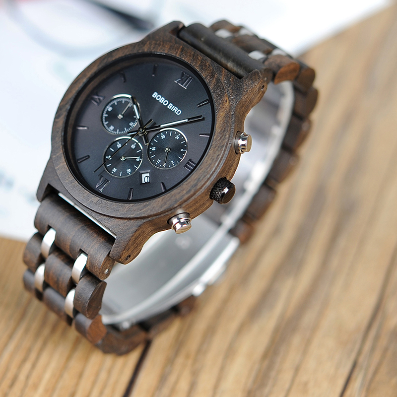 BOBO BIRD Men Chronograph Date Luxury Versatile Timepieces Wooden Watch 22