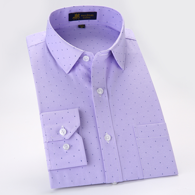 2019 Button Collar Long Sleeve Oxford Easy Care Solid Business Men Casual Shirts 8colors