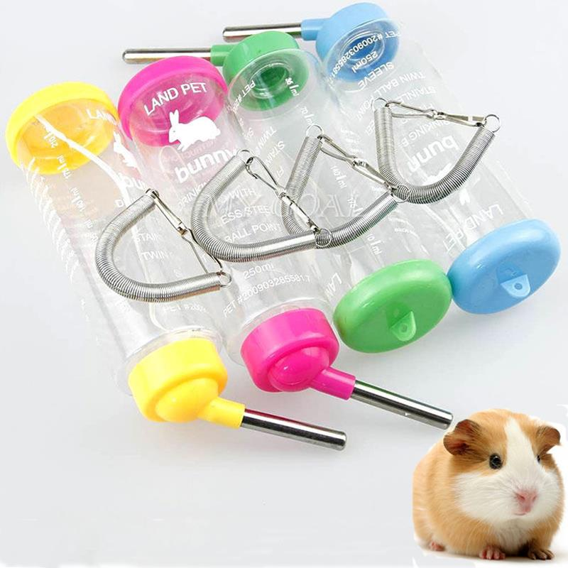 250ML Pet Dog Puppy Cat Rabbit Hanging Drinking Bottle Water Feeder Metal Pipe