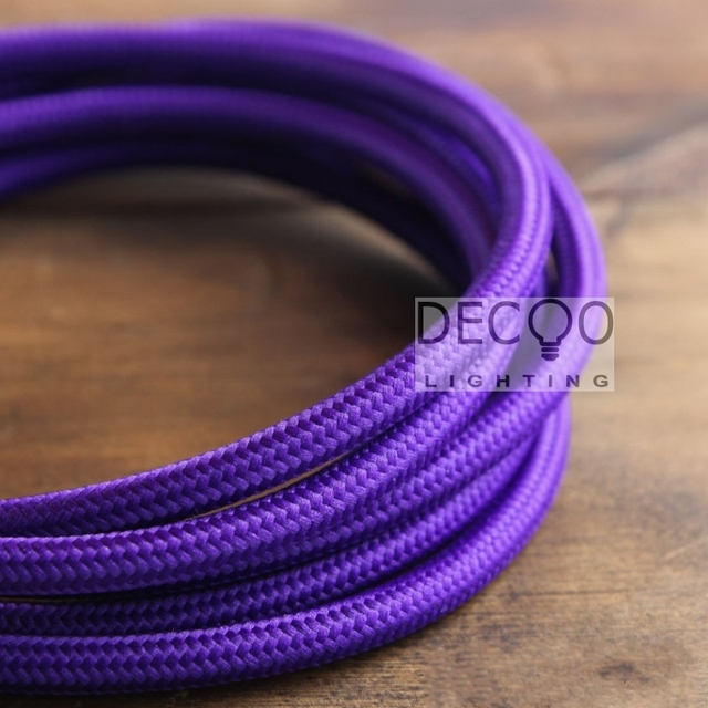 2 Core 0.75MM Round Rayon Covered Electrical Cord Wire Purple Lighting Flex L& Cable & 2 Core 0.75MM Round Rayon Covered Electrical Cord Wire Purple ...