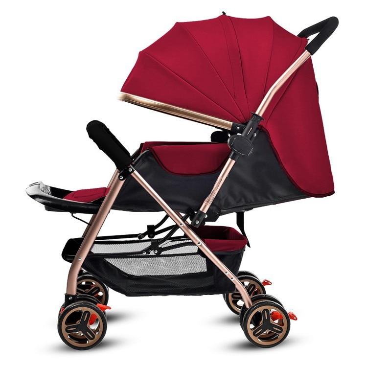 Covertible Push Handle Four Wheels Baby Stroller Newborn Baby Carriage Umbrella Car Lie Flat Travel Folding Baby Stroller Pram