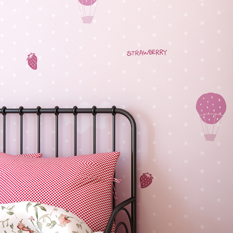 Green Nonwovens Wallpapers Strawberry Balloon Simple Modern Kids Room Cartoon Wall paper Boys Girl Bedroom Cute Pink Princess юбка strawberry witch lolita sk