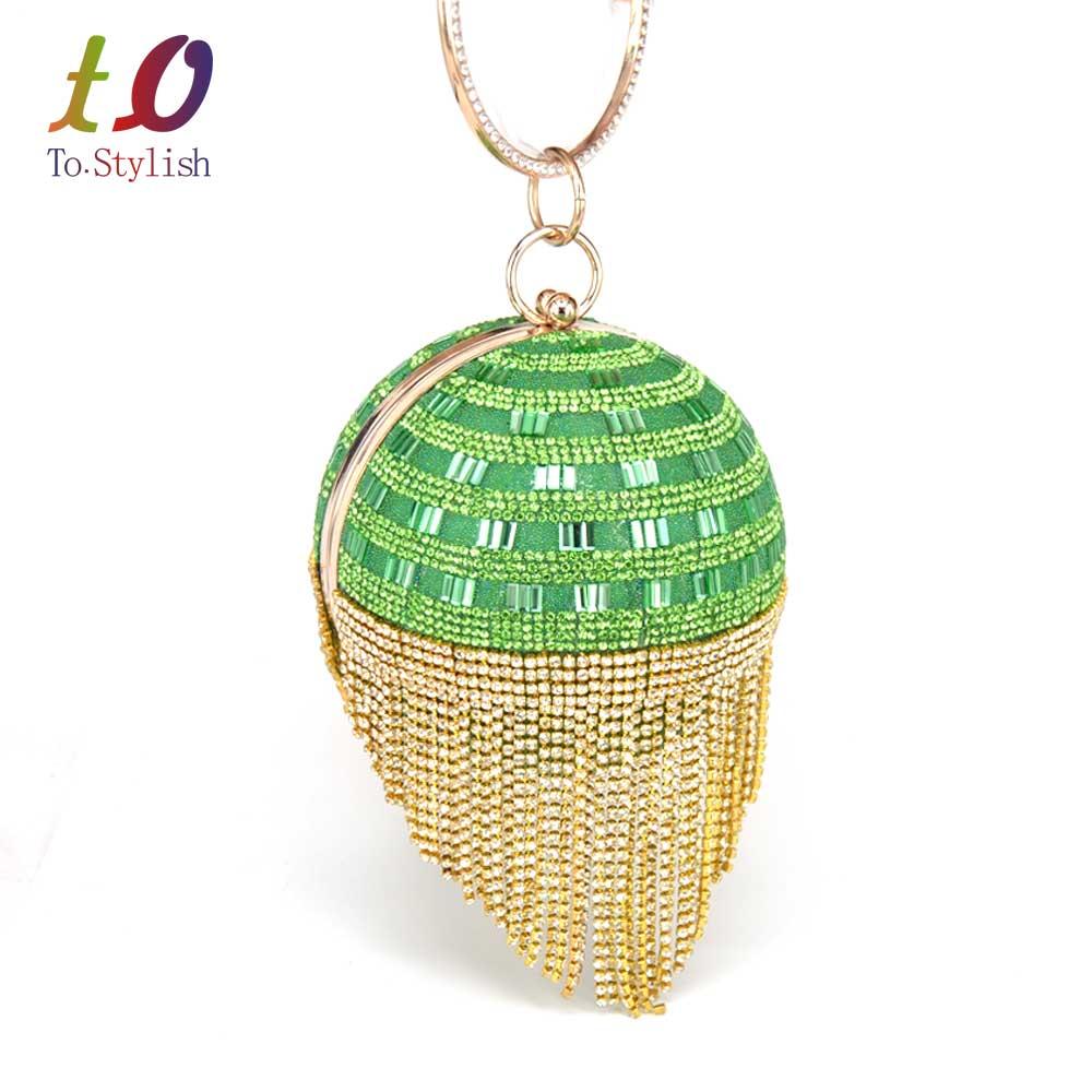 ФОТО Fashion Ball hardcase Diamond Tassel Evening Bag Pink Satin beaded Women clutch purse Wedding Bride Wristlets handbag RB801