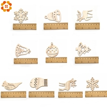 10pcs DIY Christmas Snowflakes & Deer & Tree Wooden Pendant Ornaments For Christmas Party