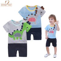Nyan Cat Baby Clothes Summer 2 Colors Short Sleeve Dinosaur Animal Jumpsuit Infant Toddler Baby Girl