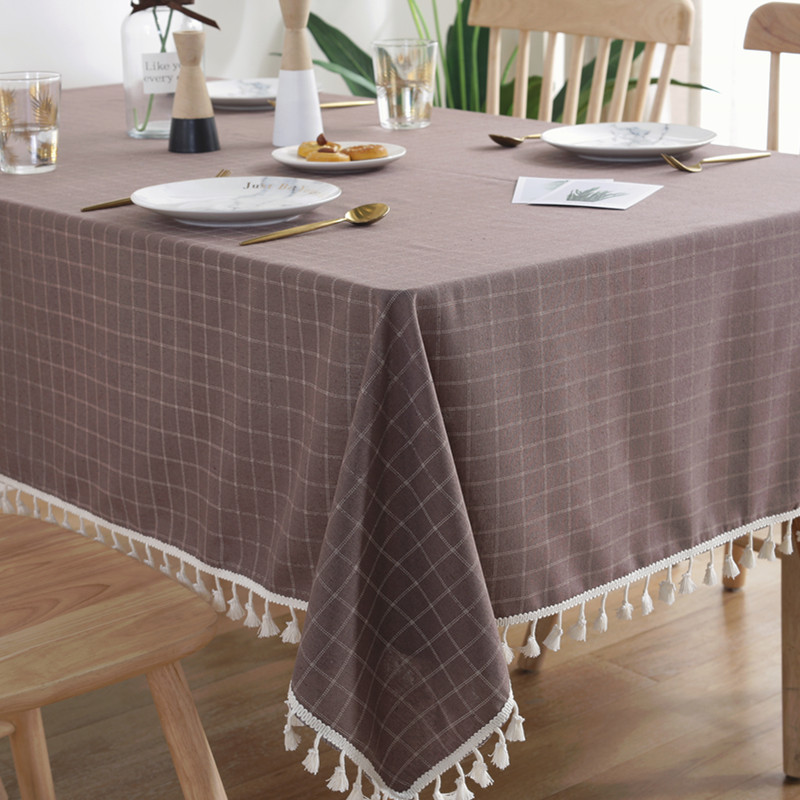 New Plaid Tablecloth With Tassel Haute Decorate Linen Waterproof Thick Rectangular Wedding Table Cover Simple Dining Table Cloth in Tablecloths from Home Garden