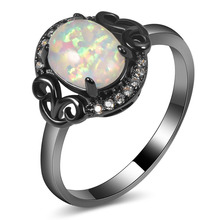 Hot Sale Exquisite White Fire Opal 14KT Black Gold Filled High Quantity Engagement Wedding Ring Size 5 6 7 8 9 10 11 A129