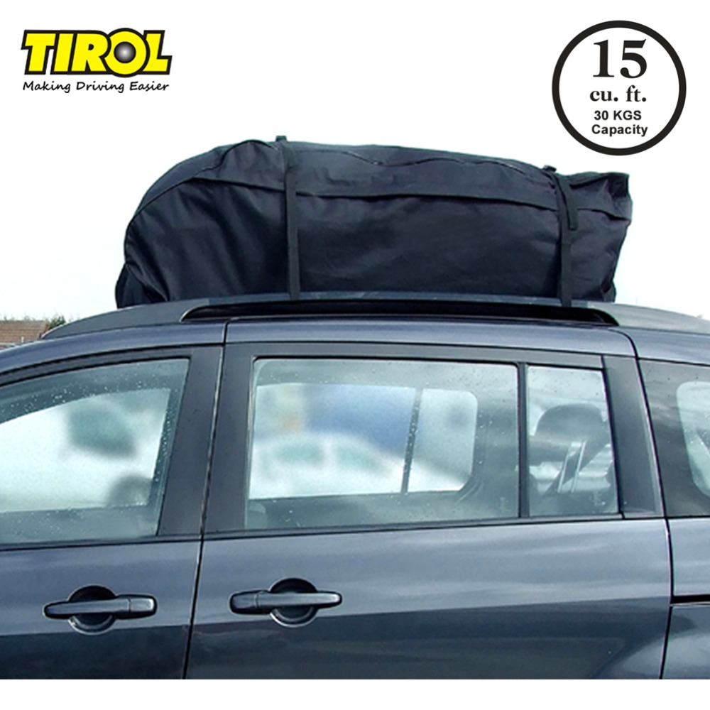 TIROL Water Resistant Roof Bag 15 Cubic Feet Roof Top Cargo Carrier for vehicles with roof rails SUV Van Cargo Box T20656b kemimoto 15 cubic feet rooftop cargo carrier waterproof roof top cargo luggage travel bag for car truck suv vans with roof rails