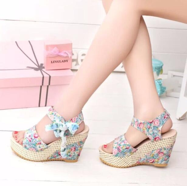 XDA 2019 New Arrival Women Sandals Summer Open Toe Fish Head sandals Fashion Platform High Heels Wedge Sandals Female Shoes E132 3