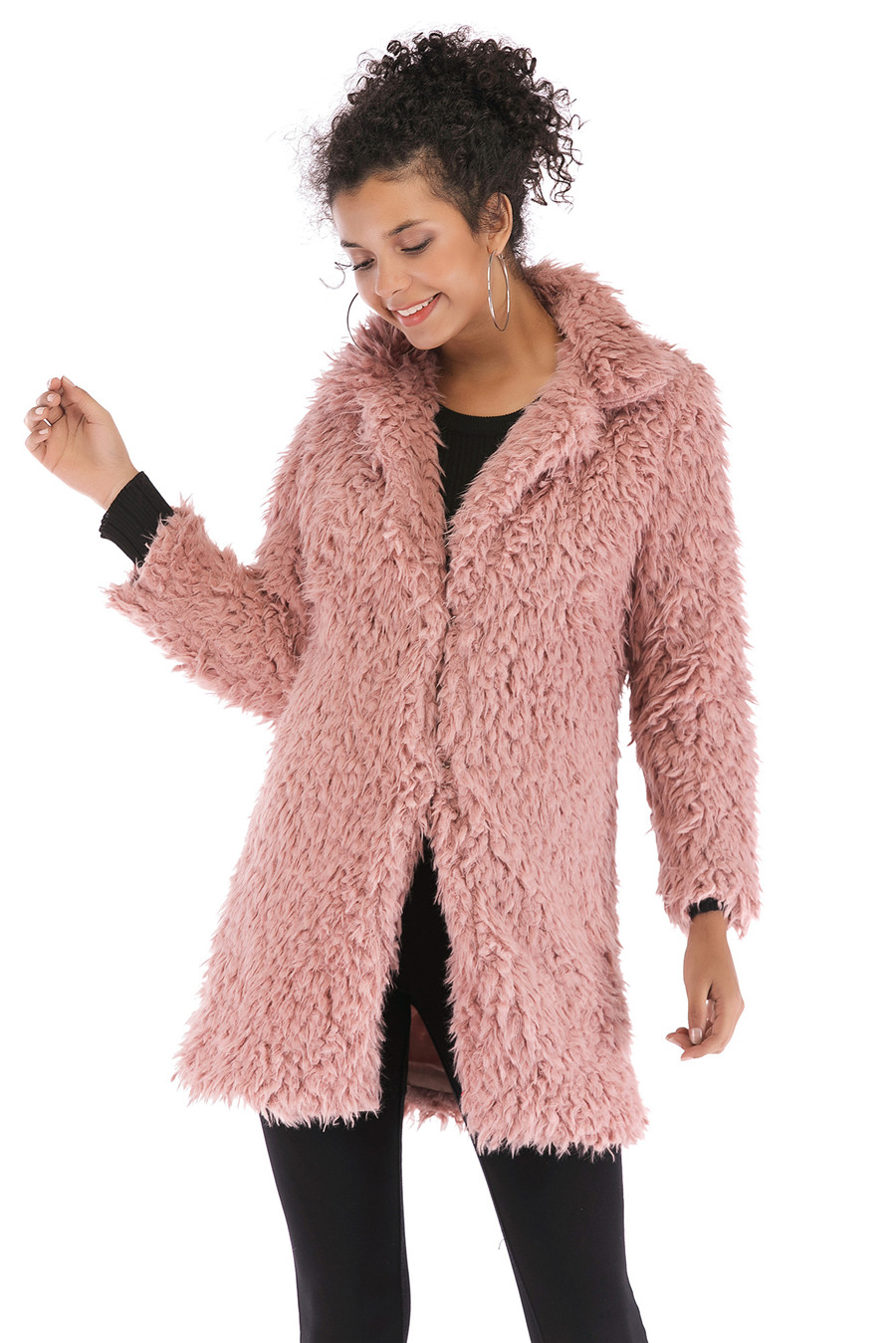 Gladiolus 2018 Women Autumn Winter Coat Turn-Down Collar Long Sleeve Covered Button Long Warm Shaggy Faux Fur Coat Women Jackets (29)