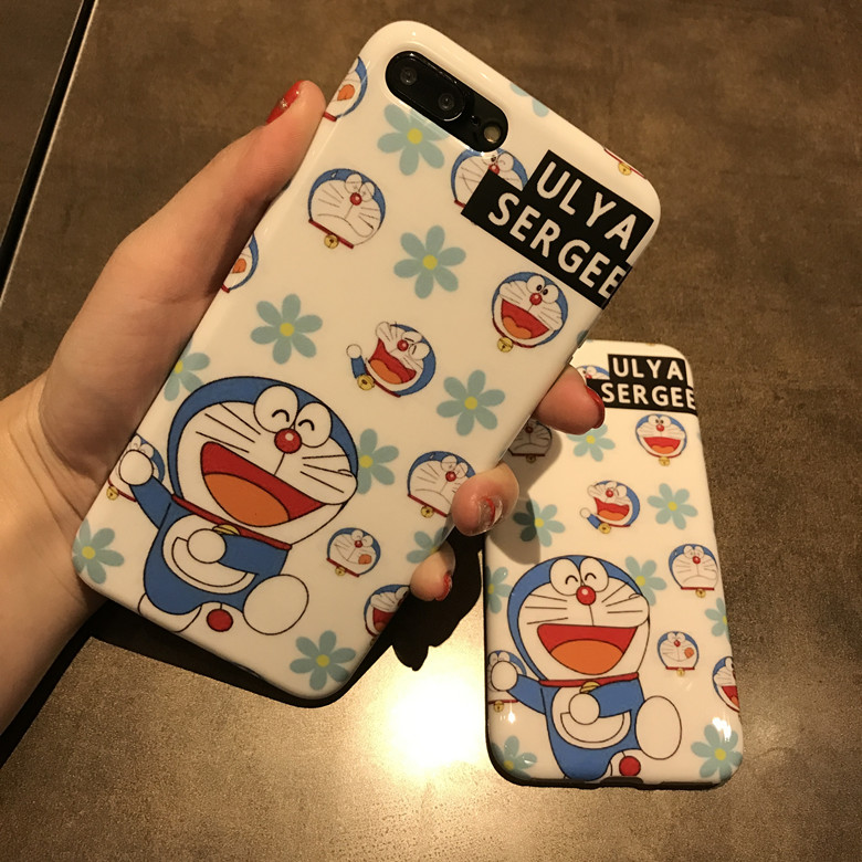 10pcs/lot Cartoon Stylish Happy Doraemon Glossy Shine Soft TPU Back Cover Case For iPhoneX 6/6s 7plus Skin Shell Protection
